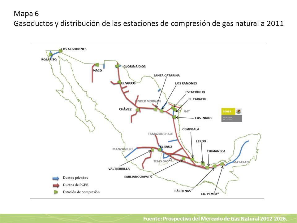 Fuente: Prospectiva del Mercado de Gas Natural 2012-2026. Mapa 6 Gasoductos y distribución de las estaciones de compresión de gas natural a 2011