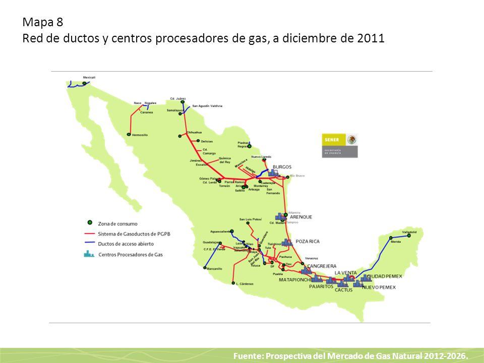 Fuente: Prospectiva del Mercado de Gas Natural 2012-2026. Mapa 8 Red de ductos y centros procesadores de gas, a diciembre de 2011