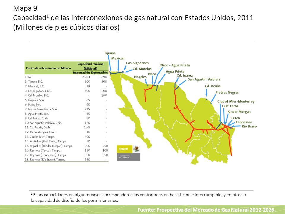 Fuente: Prospectiva del Mercado de Gas Natural 2012-2026. Mapa 9 Capacidad 1 de las interconexiones de gas natural con Estados Unidos, 2011 (Millones