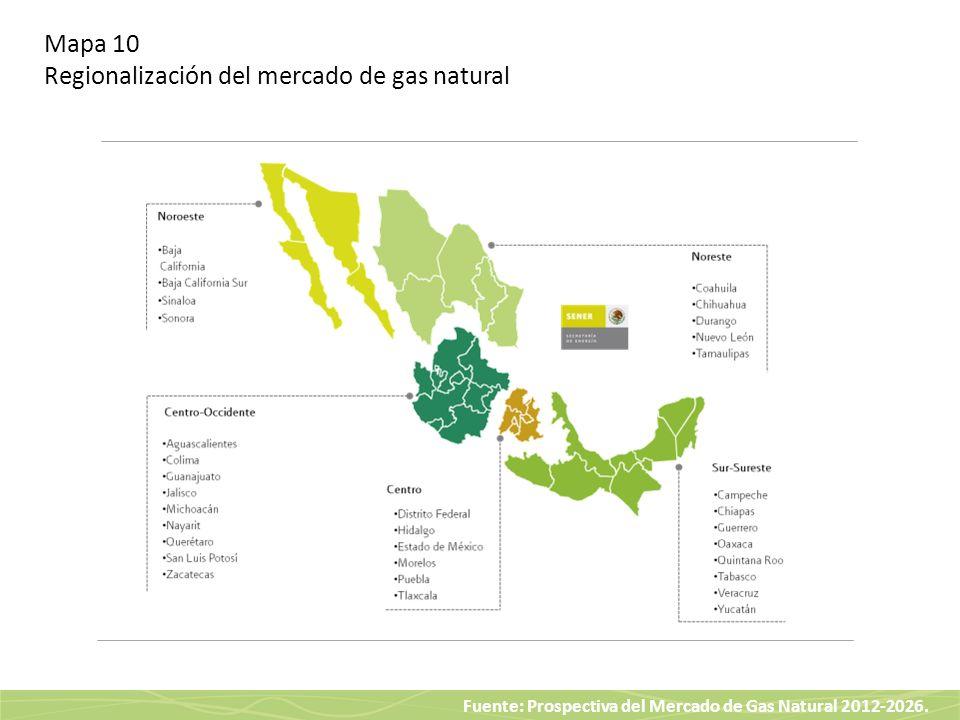 Fuente: Prospectiva del Mercado de Gas Natural 2012-2026. Mapa 10 Regionalización del mercado de gas natural