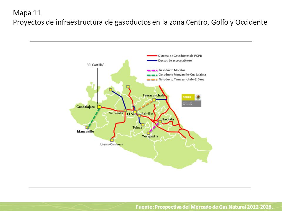 Fuente: Prospectiva del Mercado de Gas Natural 2012-2026. Mapa 11 Proyectos de infraestructura de gasoductos en la zona Centro, Golfo y Occidente
