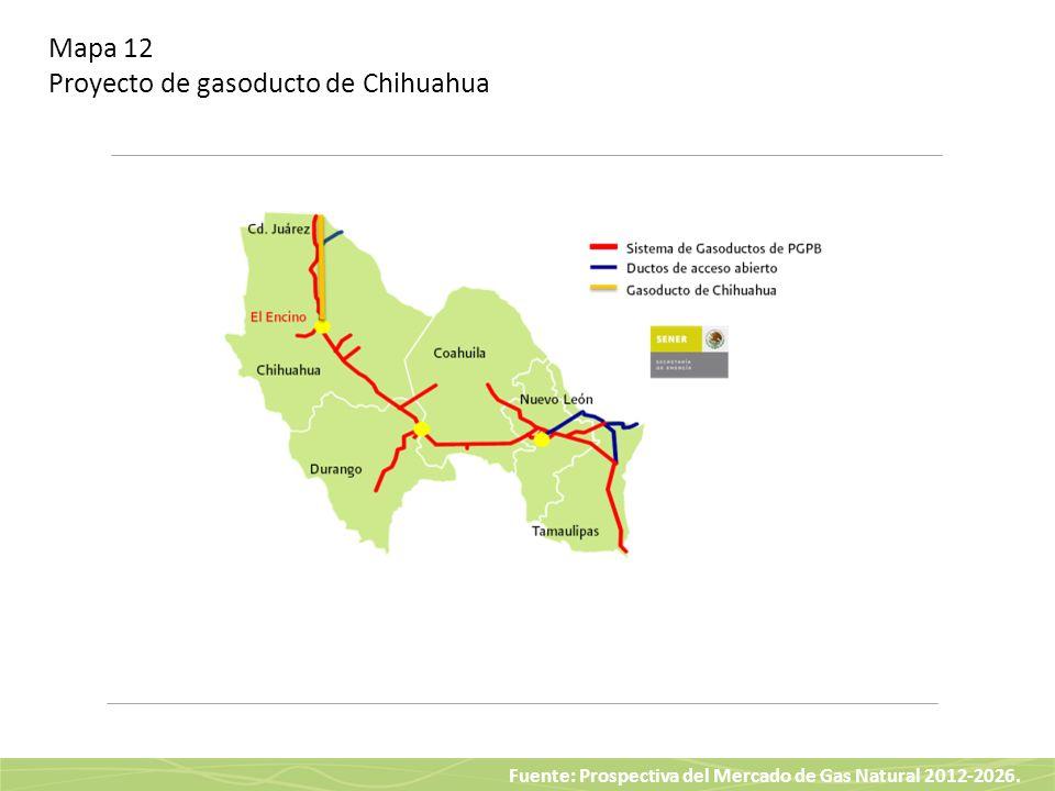 Fuente: Prospectiva del Mercado de Gas Natural 2012-2026. Mapa 12 Proyecto de gasoducto de Chihuahua