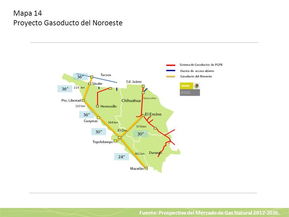 Fuente: Prospectiva del Mercado de Gas Natural 2012-2026. Mapa 14 Proyecto Gasoducto del Noroeste