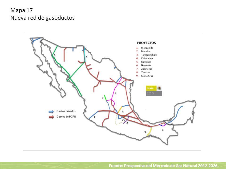 Fuente: Prospectiva del Mercado de Gas Natural 2012-2026. Mapa 17 Nueva red de gasoductos