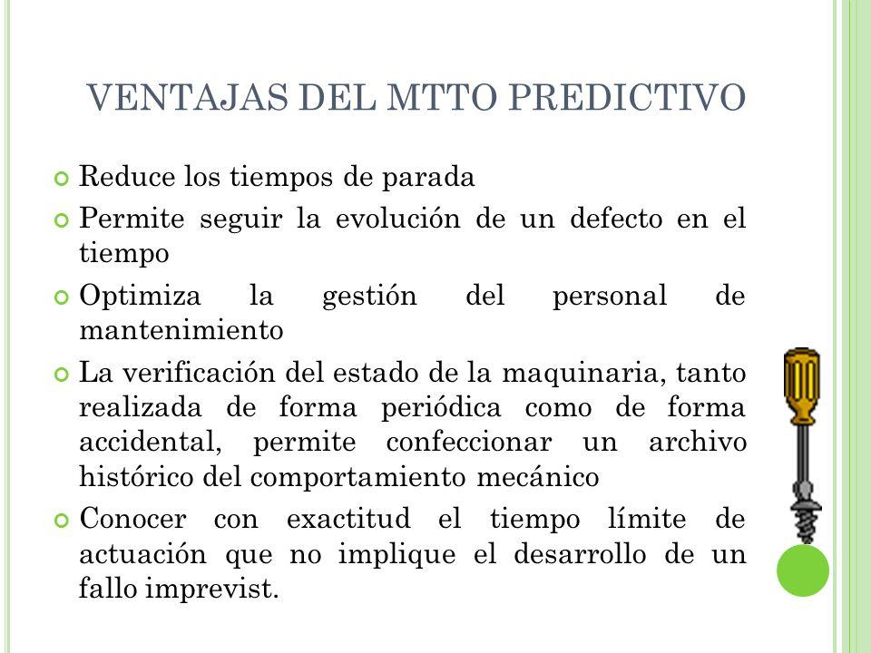 VENTAJAS DEL MTTO PREDICTIVO Reduce los tiempos de parada Permite seguir la evolución de un defecto en el tiempo Optimiza la gestión del personal de m