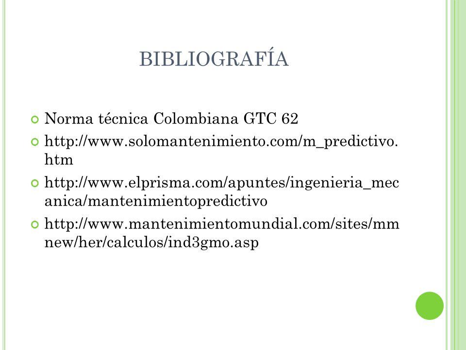 BIBLIOGRAFÍA Norma técnica Colombiana GTC 62 http://www.solomantenimiento.com/m_predictivo. htm http://www.elprisma.com/apuntes/ingenieria_mec anica/m