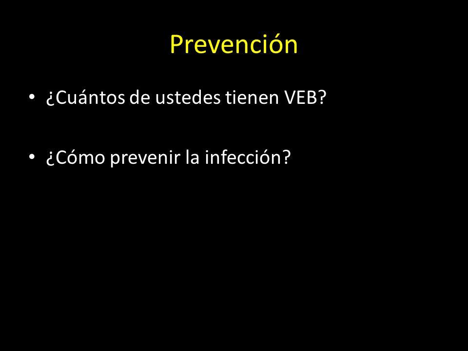 Prevención ¿Cuántos de ustedes tienen VEB? ¿Cómo prevenir la infección?