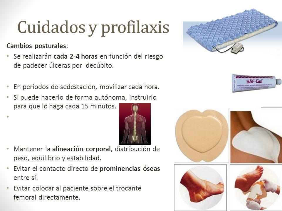 Cuidados y profilaxis Cambios posturales: Se realizarán cada 2-4 horas en función del riesgo de padecer úlceras por decúbito. En períodos de sedestaci