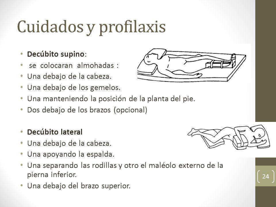Cuidados y profilaxis Decúbito supino: se colocaran almohadas : Una debajo de la cabeza. Una debajo de los gemelos. Una manteniendo la posición de la