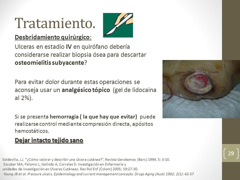 Tratamiento. Desbridamiento quirúrgico: Ulceras en estadio IV en quirófano debería considerarse realizar biopsia ósea para descartar osteomielitis sub
