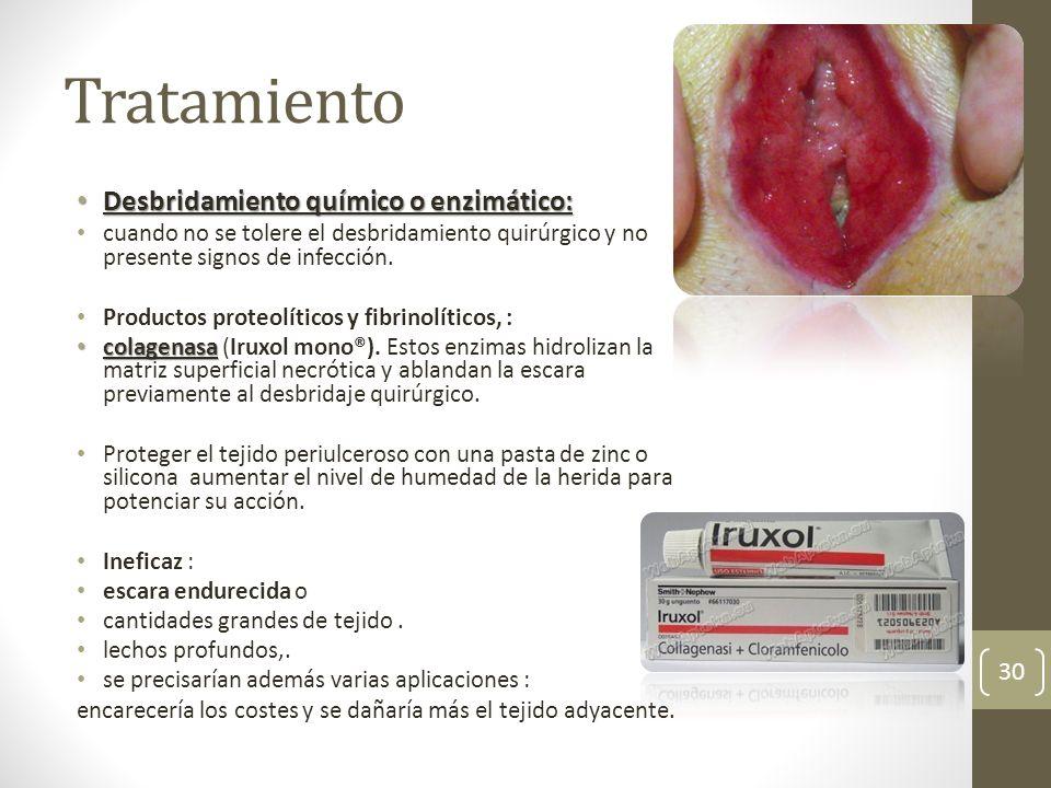 Tratamiento Desbridamiento químico o enzimático: Desbridamiento químico o enzimático: cuando no se tolere el desbridamiento quirúrgico y no presente s