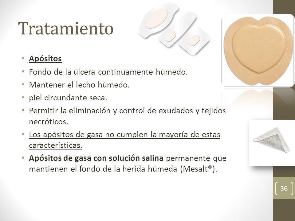 Tratamiento Apósitos Fondo de la úlcera continuamente húmedo. Mantener el lecho húmedo. piel circundante seca. Permitir la eliminación y control de ex