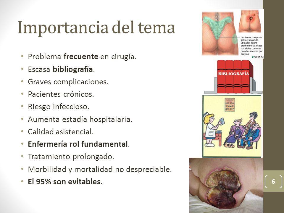 Importancia del tema Problema frecuente en cirugía. Escasa bibliografía. Graves complicaciones. Pacientes crónicos. Riesgo infeccioso. Aumenta estadía