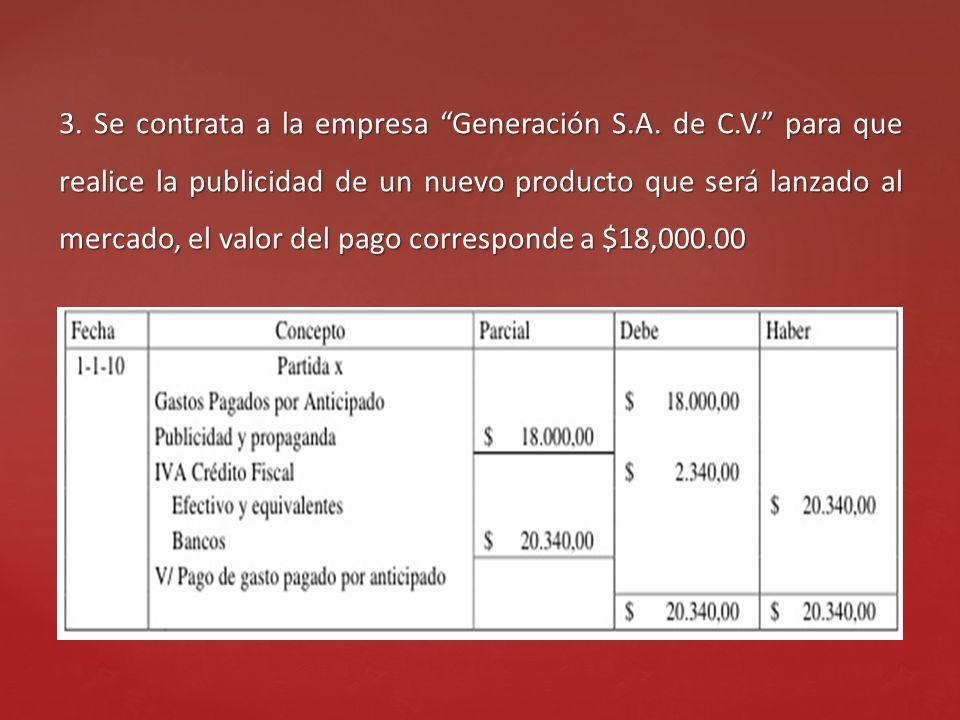 3. Se contrata a la empresa Generación S.A. de C.V. para que realice la publicidad de un nuevo producto que será lanzado al mercado, el valor del pago
