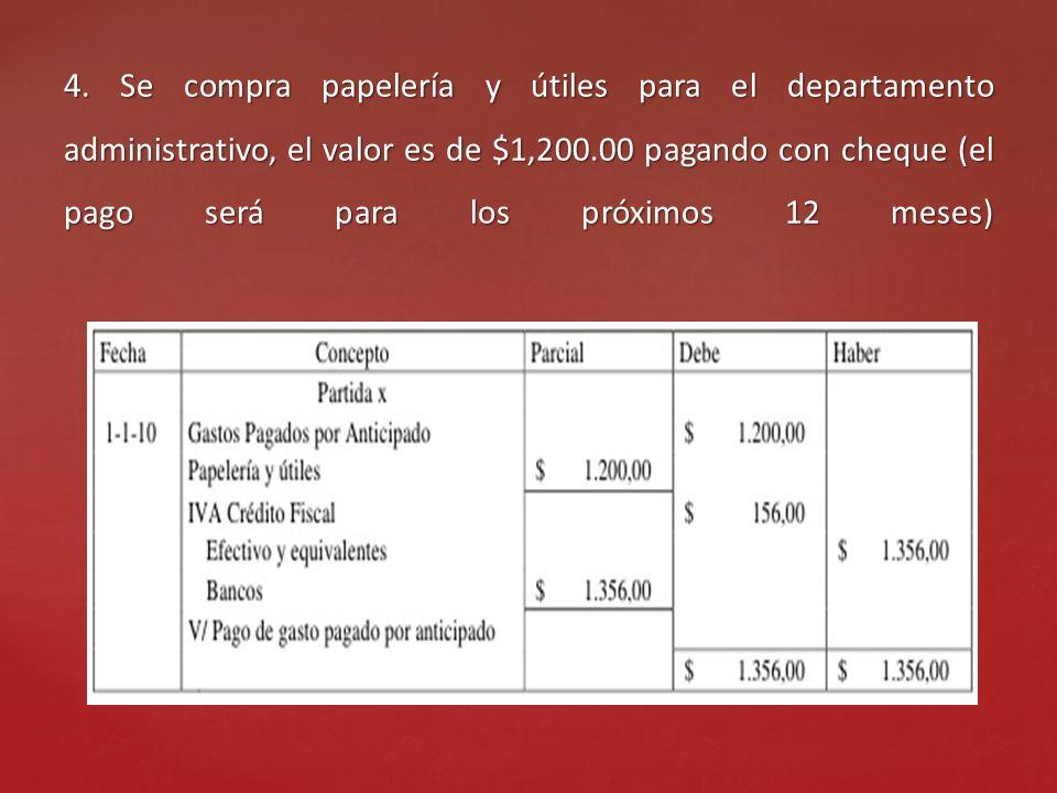4. Se compra papelería y útiles para el departamento administrativo, el valor es de $1,200.00 pagando con cheque (el pago será para los próximos 12 me
