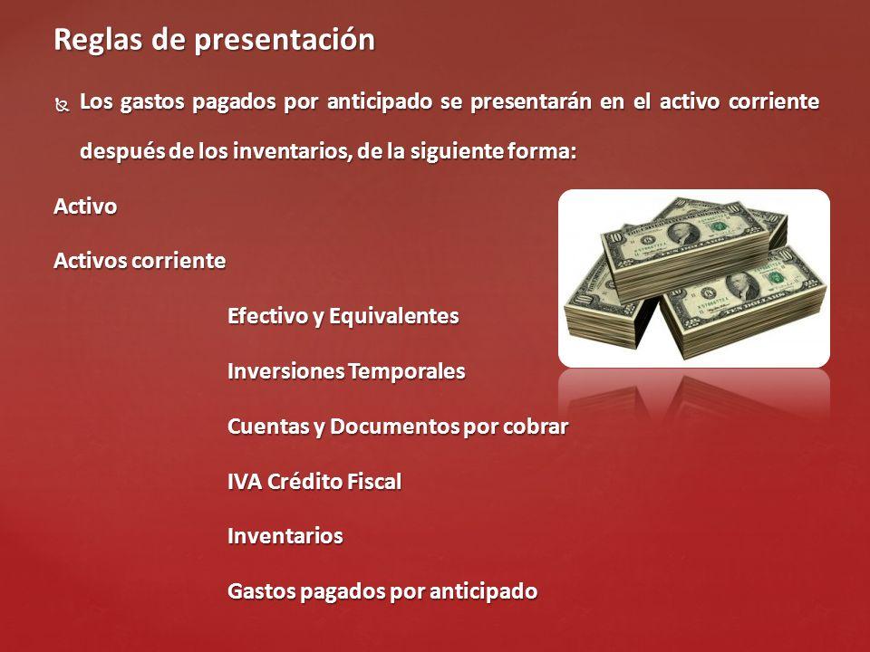 Reglas de presentación Los gastos pagados por anticipado se presentarán en el activo corriente después de los inventarios, de la siguiente forma: Acti