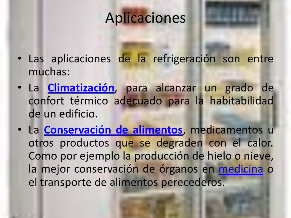 Aplicaciones Las aplicaciones de la refrigeración son entre muchas: La Climatización, para alcanzar un grado de confort térmico adecuado para la habitabilidad de un edificio.Climatización La Conservación de alimentos, medicamentos u otros productos que se degraden con el calor.