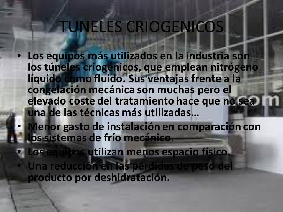 TUNELES CRIOGENICOS Los equipos más utilizados en la industria son los túneles criogénicos, que emplean nitrógeno líquido como fluido.