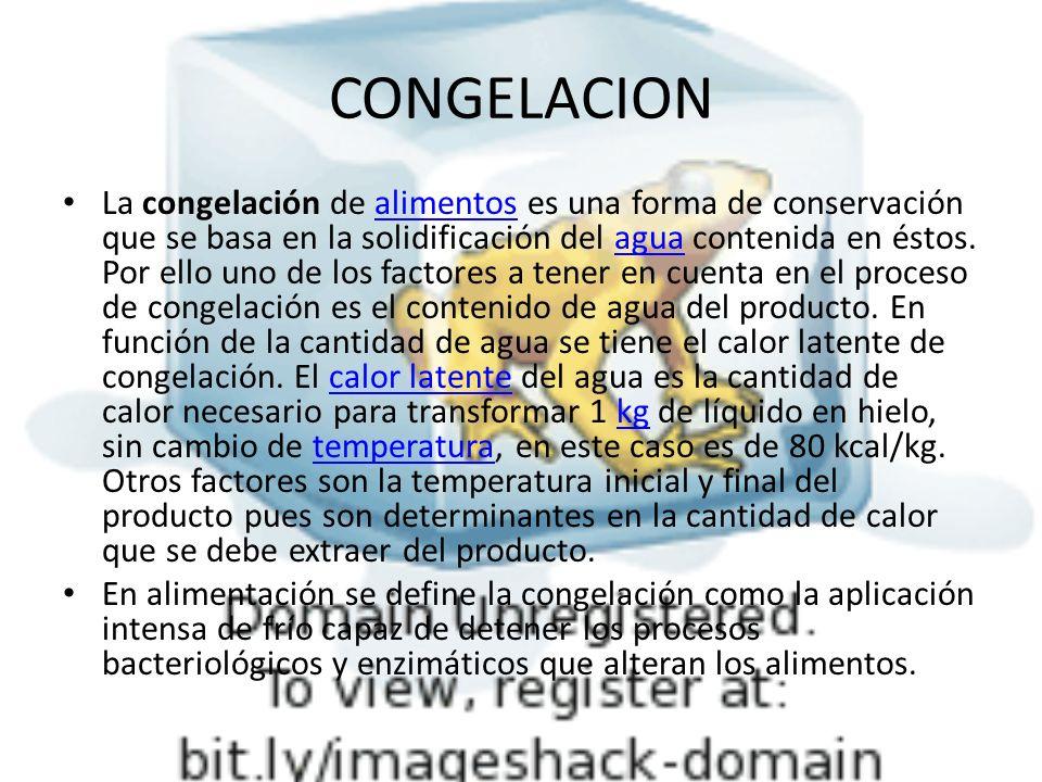CONGELACION La congelación de alimentos es una forma de conservación que se basa en la solidificación del agua contenida en éstos. Por ello uno de los