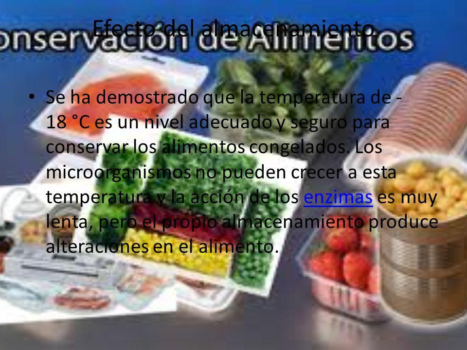 Efecto del almacenamiento Se ha demostrado que la temperatura de - 18 °C es un nivel adecuado y seguro para conservar los alimentos congelados.