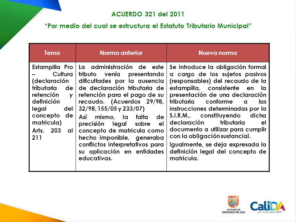 TemaNorma anteriorNueva norma Estampilla Pro – Cultura (declaración tributaria de retención y definición legal del concepto de matricula) Arts.