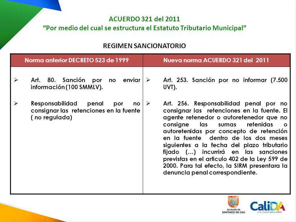 ACUERDO 321 del 2011 Por medio del cual se estructura el Estatuto Tributario Municipal REGIMEN SANCIONATORIO Norma anterior DECRETO 523 de 1999Nueva norma ACUERDO 321 del 2011 Art.