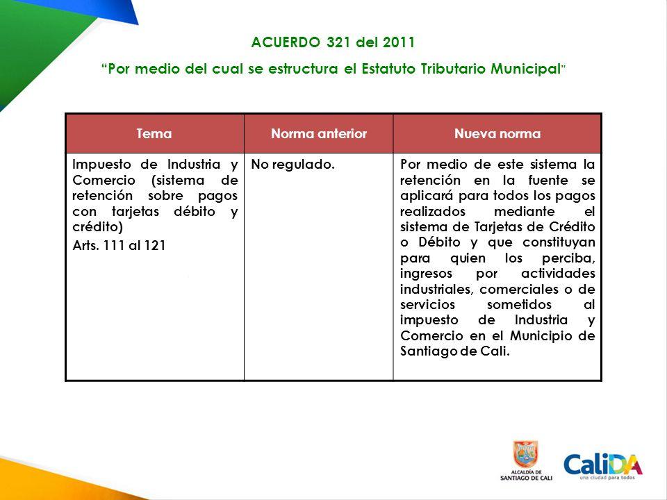 TemaNorma anteriorNueva norma Impuesto de Industria y Comercio (sistema de retención sobre pagos con tarjetas débito y crédito) Arts.