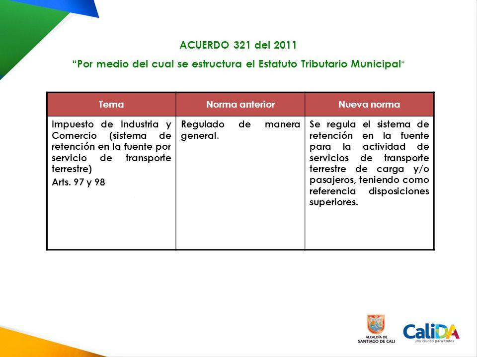 TemaNorma anteriorNueva norma Impuesto de Industria y Comercio (sistema de retención en la fuente por servicio de transporte terrestre) Arts.