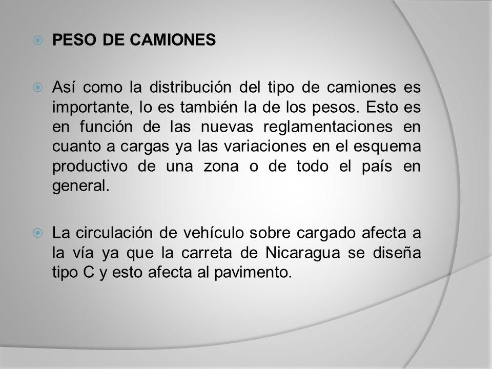 PESO DE CAMIONES Así como la distribución del tipo de camiones es importante, lo es también la de los pesos.