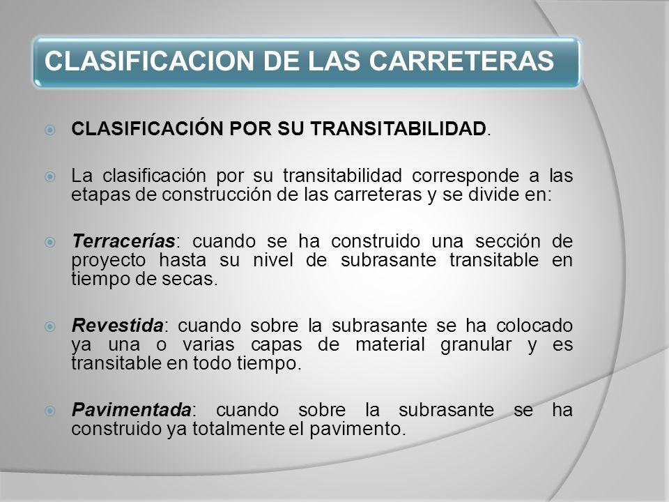 CLASIFICACION DE LAS CARRETERAS CLASIFICACIÓN POR SU TRANSITABILIDAD.
