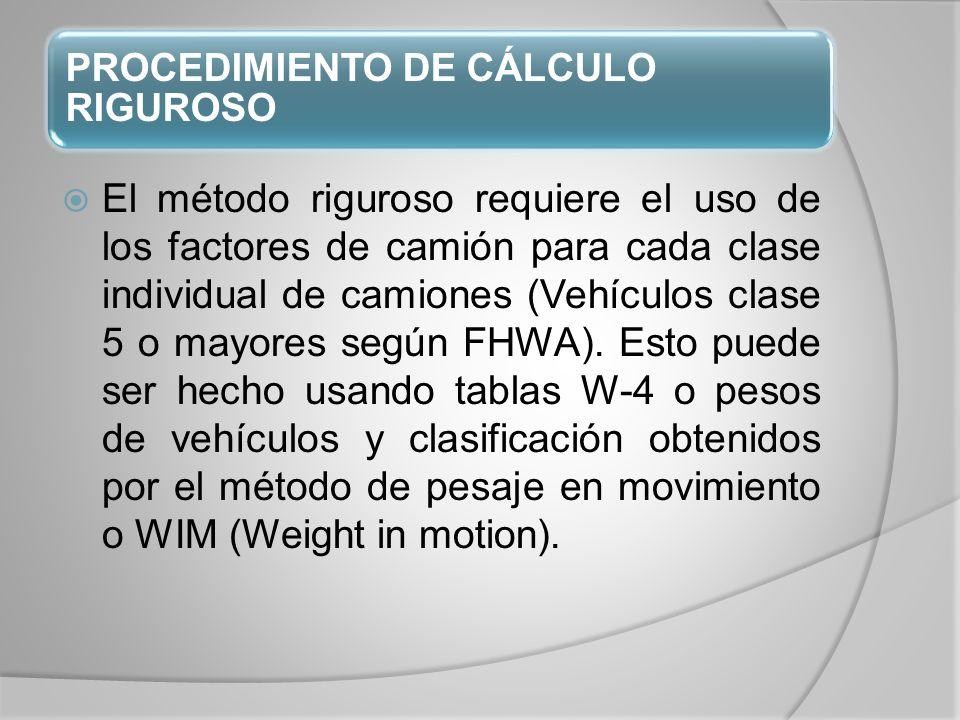 PROCEDIMIENTO DE CÁLCULO RIGUROSO El método riguroso requiere el uso de los factores de camión para cada clase individual de camiones (Vehículos clase 5 o mayores según FHWA).