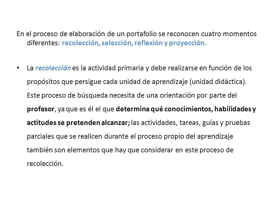 En el proceso de elaboración de un portafolio se reconocen cuatro momentos diferentes: recolección, selección, reflexión y proyección. La recolección