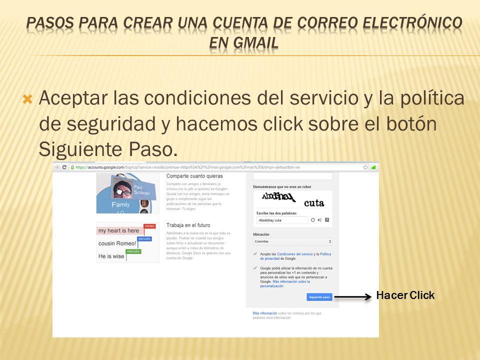 Llenamos la información personal, el nombre de usuario y la contraseña.