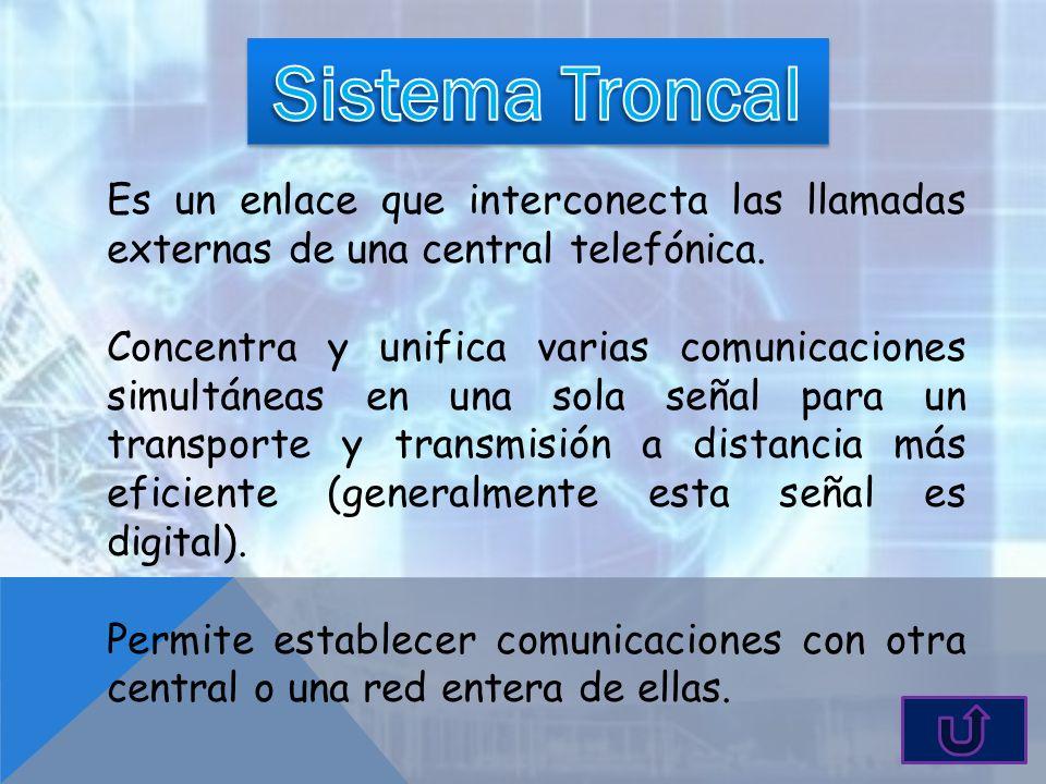 Es un enlace que interconecta las llamadas externas de una central telefónica. Concentra y unifica varias comunicaciones simultáneas en una sola señal