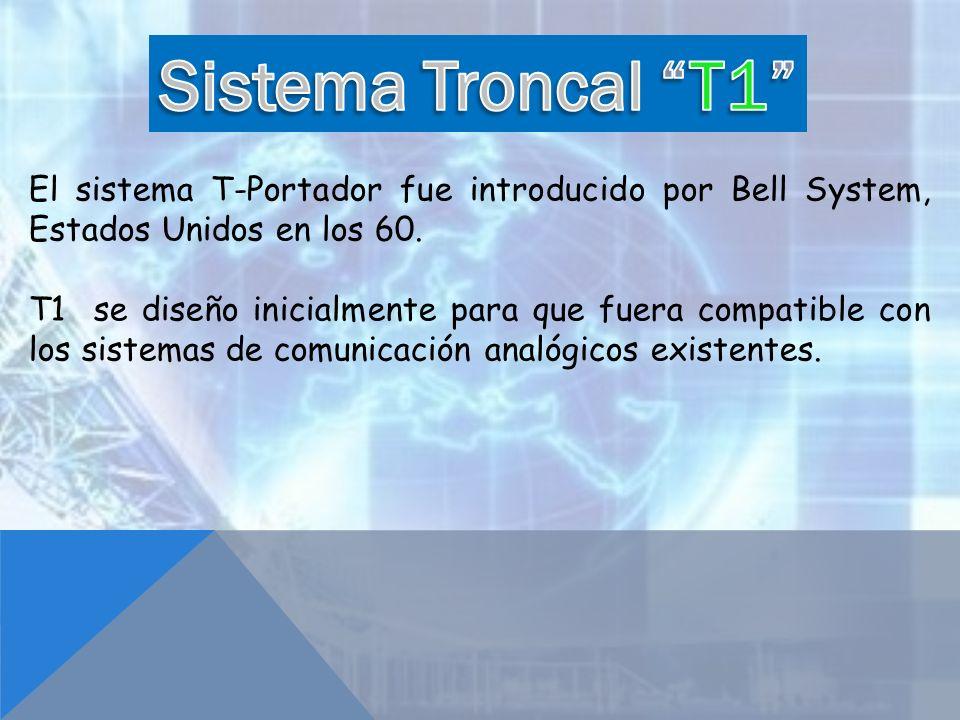El sistema T-Portador fue introducido por Bell System, Estados Unidos en los 60. T1 se diseño inicialmente para que fuera compatible con los sistemas