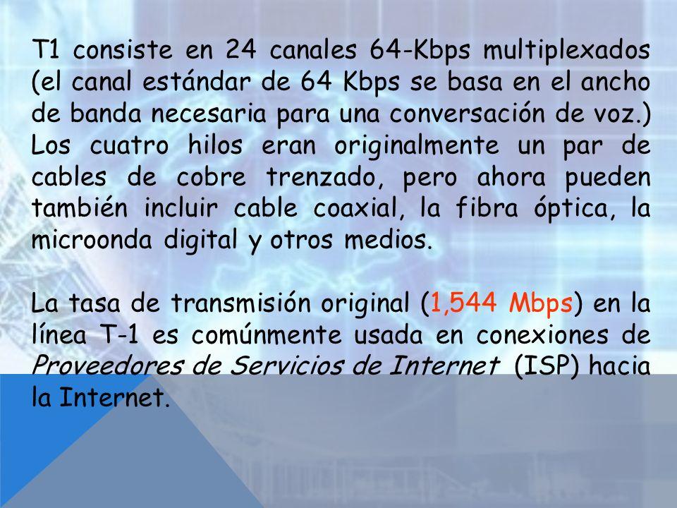 T1 consiste en 24 canales 64-Kbps multiplexados (el canal estándar de 64 Kbps se basa en el ancho de banda necesaria para una conversación de voz.) Lo