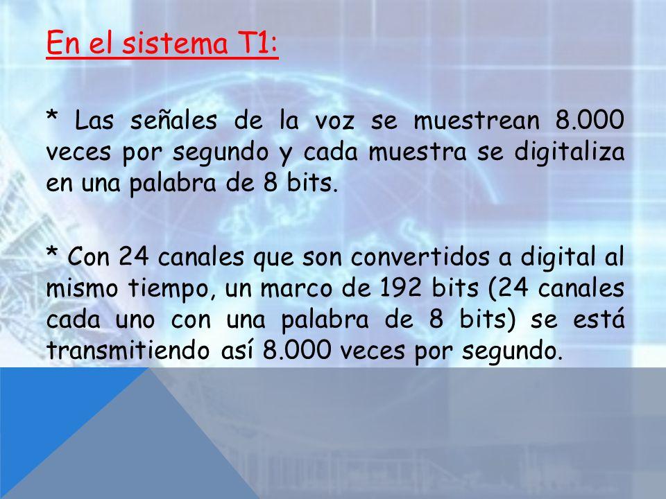 En el sistema T1: * Las señales de la voz se muestrean 8.000 veces por segundo y cada muestra se digitaliza en una palabra de 8 bits. * Con 24 canales