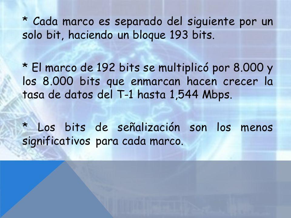 * Cada marco es separado del siguiente por un solo bit, haciendo un bloque 193 bits. * El marco de 192 bits se multiplicó por 8.000 y los 8.000 bits q