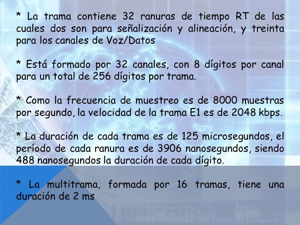 * La trama contiene 32 ranuras de tiempo RT de las cuales dos son para señalización y alineación, y treinta para los canales de Voz/Datos * Está forma