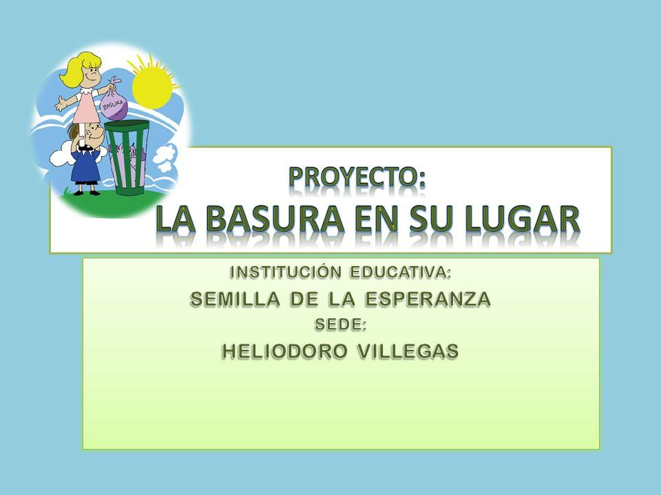 IMPLEMENTACIÓN DE COSTALES Se realiza una jornada de concientización en la comunidad con todos los estudiantes de la sede Heliodoro Villegas, implementando costales en puntos estratégicos para que la gente arroje las basuras.