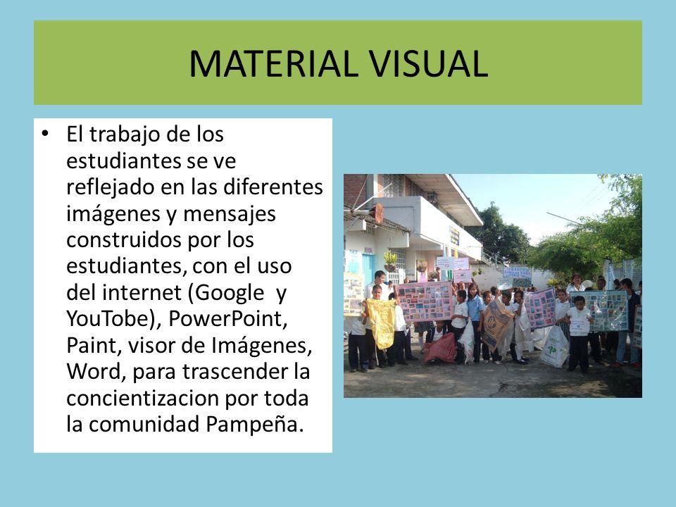 MATERIAL VISUAL El trabajo de los estudiantes se ve reflejado en las diferentes imágenes y mensajes construidos por los estudiantes, con el uso del in