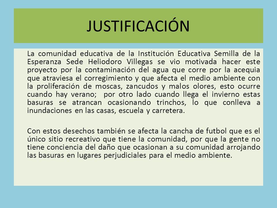 JUSTIFICACIÓN La comunidad educativa de la Institución Educativa Semilla de la Esperanza Sede Heliodoro Villegas se vio motivada hacer este proyecto p