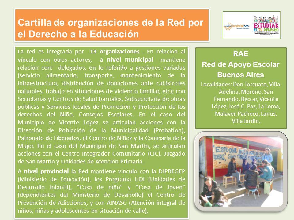 Cartilla de organizaciones de la Red por el Derecho a la Educación La red es integrada por 13 organizaciones. En relación al vínculo con otros actores