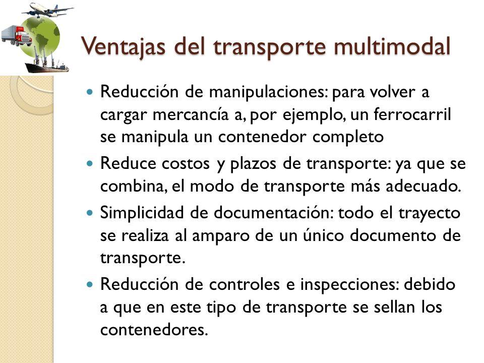 Ventajas del transporte multimodal Reducción de manipulaciones: para volver a cargar mercancía a, por ejemplo, un ferrocarril se manipula un contenedo