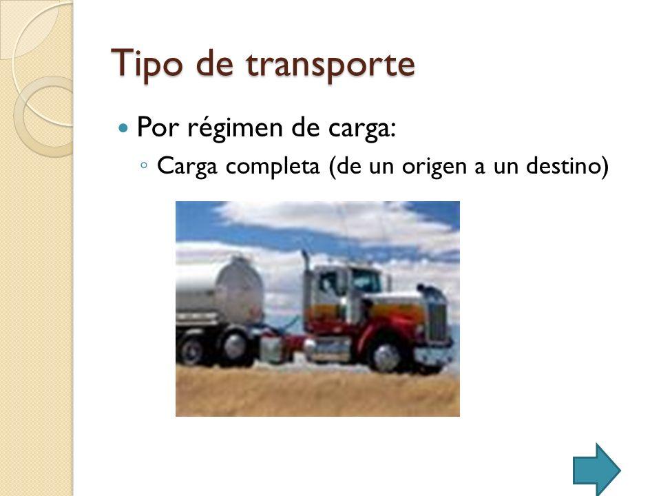 Tipo de transporte Por régimen de carga: Carga completa (de un origen a un destino)
