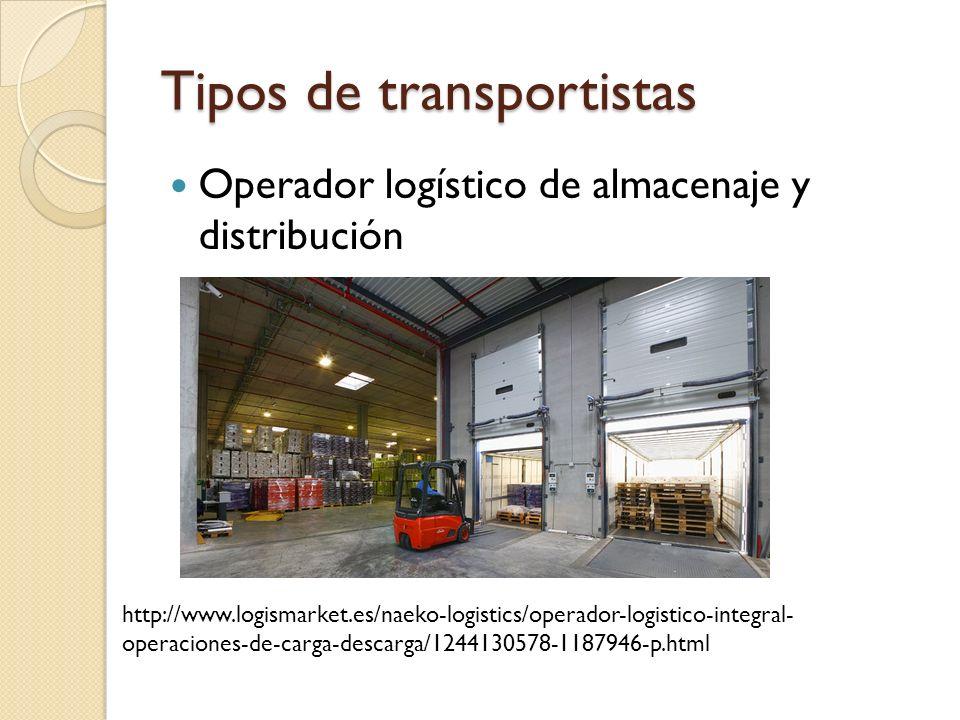 Tipos de transportistas Operador logístico de almacenaje y distribución http://www.logismarket.es/naeko-logistics/operador-logistico-integral- operaci