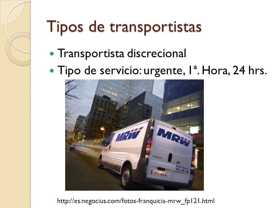 Tipos de transportistas Transportista discrecional Tipo de servicio: urgente, 1ª. Hora, 24 hrs. http://es.negocius.com/fotos-franquicia-mrw_fp121.html