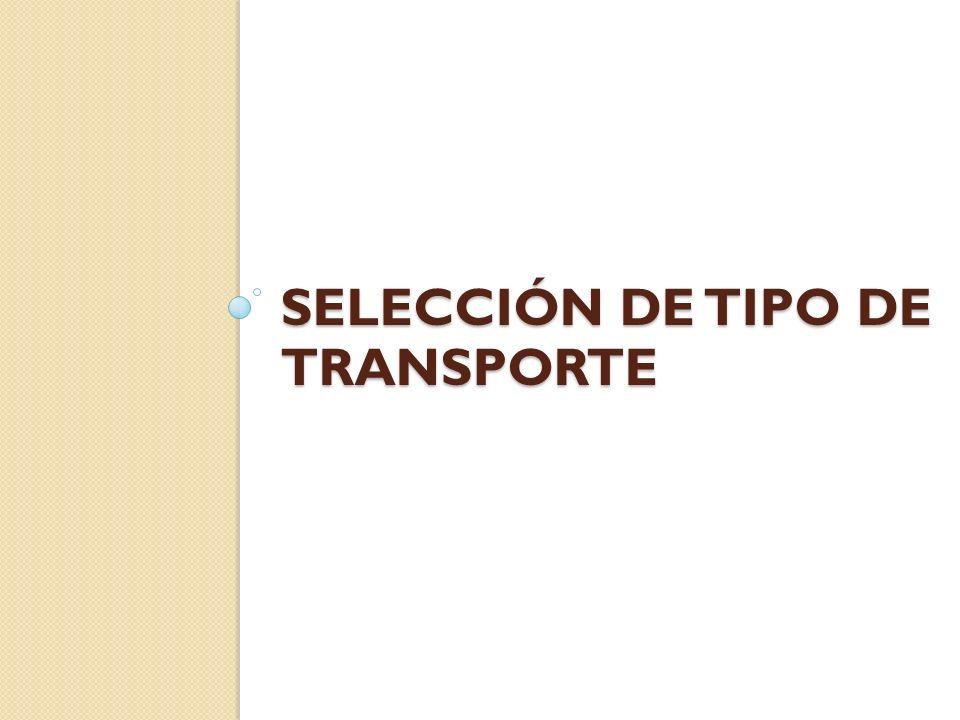 SELECCIÓN DE TIPO DE TRANSPORTE