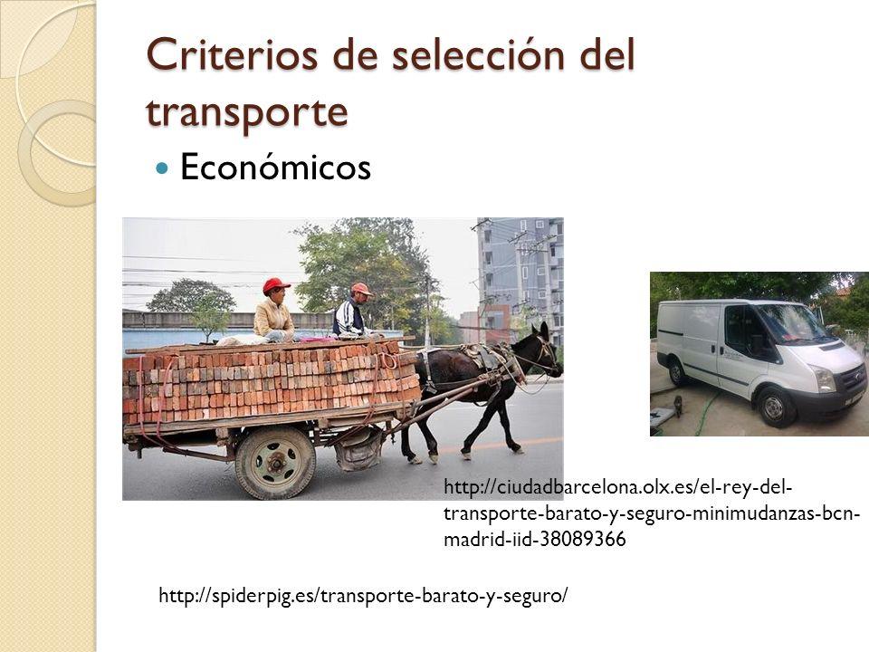 Criterios de selección del transporte Económicos http://spiderpig.es/transporte-barato-y-seguro/ http://ciudadbarcelona.olx.es/el-rey-del- transporte-
