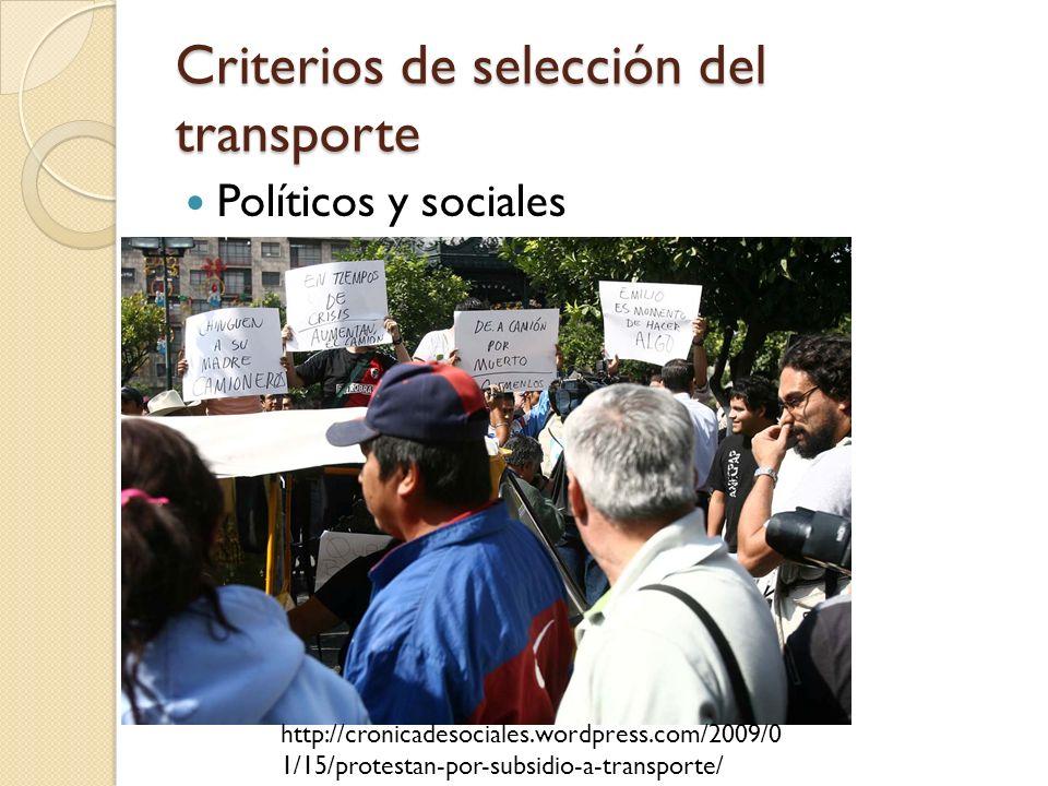 Criterios de selección del transporte Políticos y sociales http://cronicadesociales.wordpress.com/2009/0 1/15/protestan-por-subsidio-a-transporte/